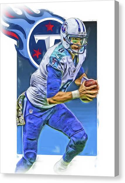 Tennessee Titans Canvas Print - Marcus Mariota Tennessee Titans Oil Art 2 by Joe Hamilton