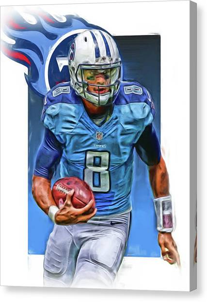 Tennessee Titans Canvas Print - Marcus Mariota Tennessee Titans Oil Art by Joe Hamilton