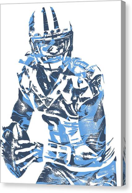 Tennessee Titans Canvas Print - Marcus Mariota Tennessee Titans Pixel Art 10 by Joe Hamilton