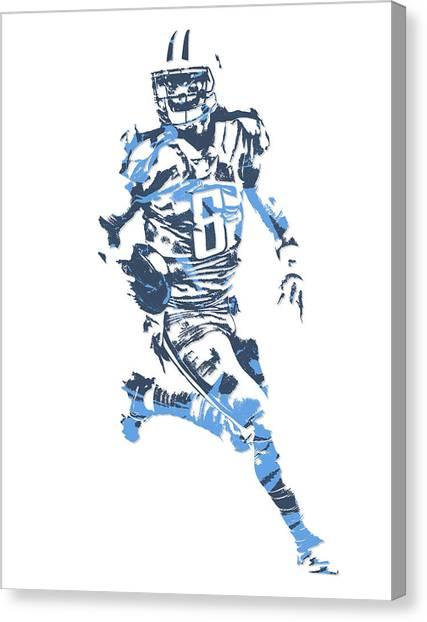 Tennessee Titans Canvas Print - Marcus Mariota Tennessee Titans Pixel Art 11 by Joe Hamilton