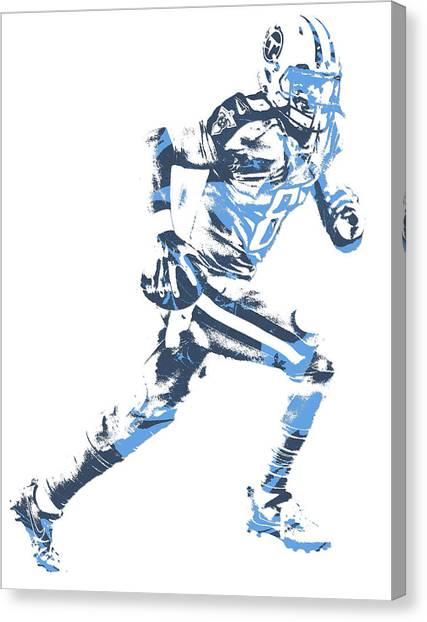 Tennessee Titans Canvas Print - Marcus Mariota Tennessee Titans Pixel Art 20 by Joe Hamilton