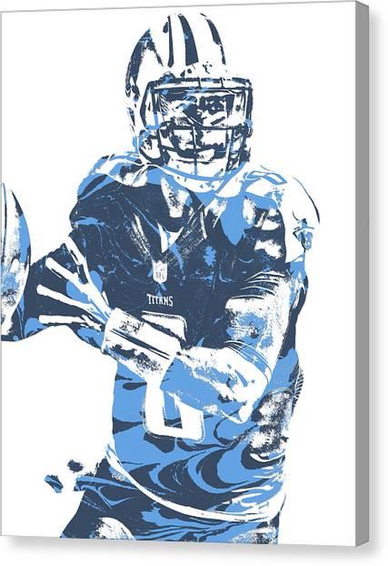 Tennessee Titans Canvas Print - Marcus Mariota Tennessee Titans Pixel Art 21 by Joe Hamilton