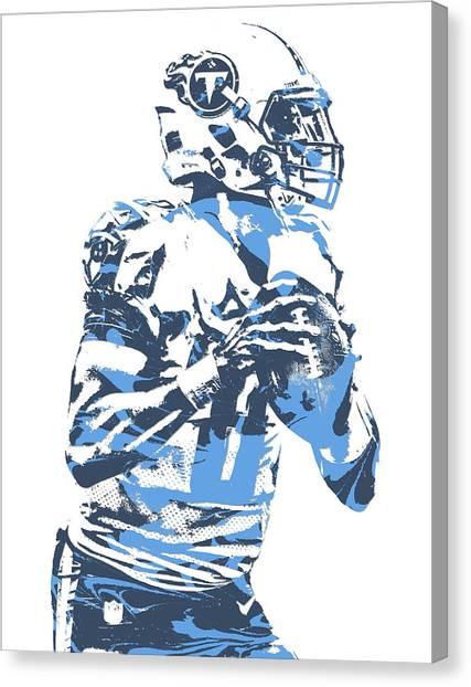 Tennessee Titans Canvas Print - Marcus Mariota Tennessee Titans Pixel Art 23 by Joe Hamilton