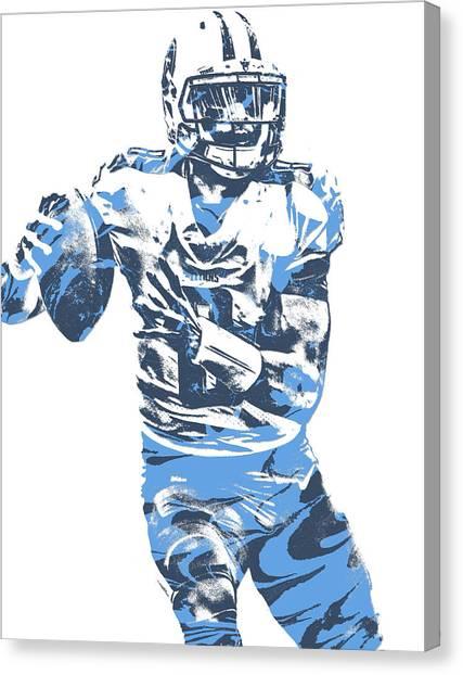 Tennessee Titans Canvas Print - Marcus Mariota Tennessee Titans Pixel Art 24 by Joe Hamilton