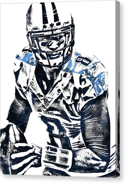 Tennessee Titans Canvas Print - Marcus Mariota Tennessee Titans Pixel Art 3 by Joe Hamilton