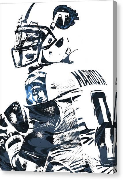 Tennessee Titans Canvas Print - Marcus Mariota Tennessee Titans Pixel Art by Joe Hamilton