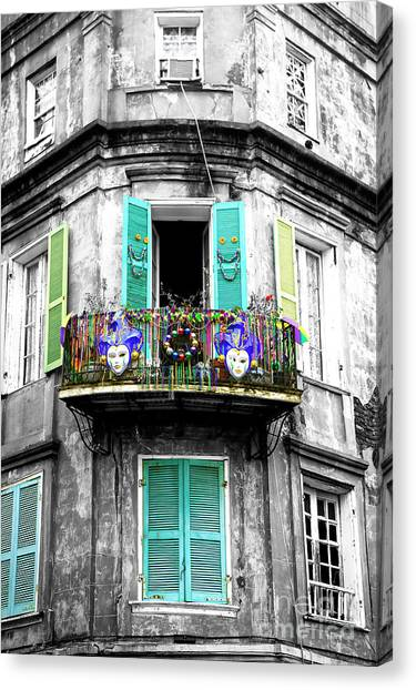 Mardi Gras Balcony Fusion Canvas Print