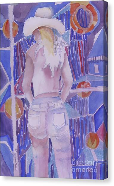Mardi Gras Cowgirl Canvas Print