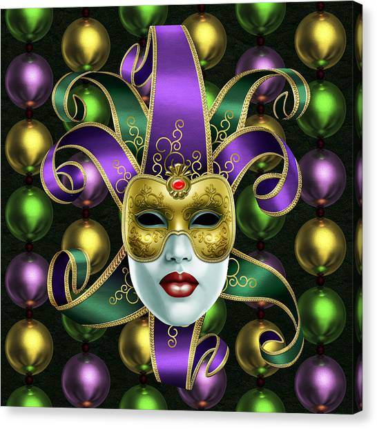 Mardi Gras Mask And Beads Canvas Print