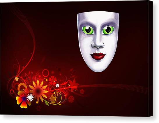 Mardi Gras Mask Red Vines Canvas Print