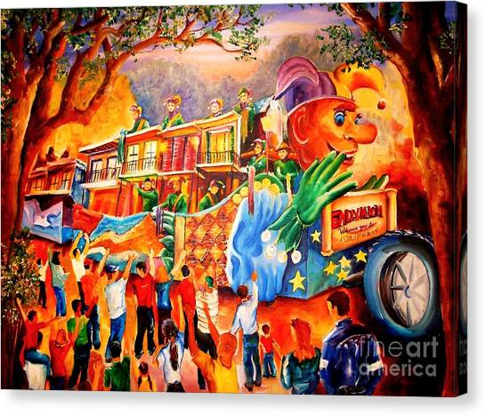Oak Trees Canvas Print - Mardi Gras With Endymion by Diane Millsap
