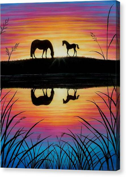 Mare And Foal Sunrise Canvas Print by Yvonne Hazelton