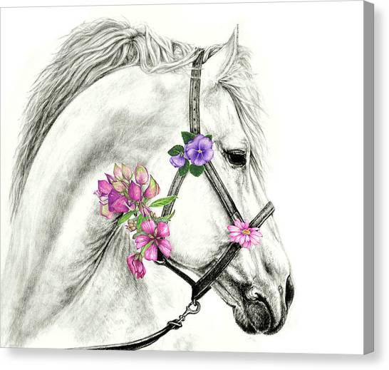 Mare With Flowers Canvas Print