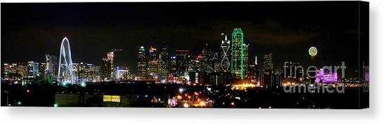 Dallas Skyline Canvas Print - Margaret Hunt Hill Bridge And Dallas Skyline by Wendy Emel