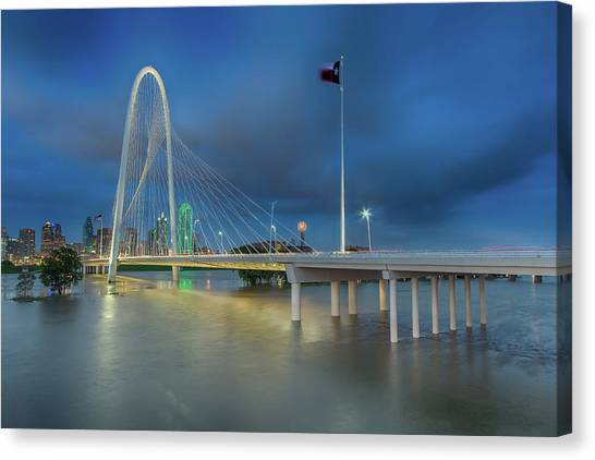 Canvas Print featuring the photograph Margaret Hunt Hill Bridge Dallas Texas by Robert Bellomy