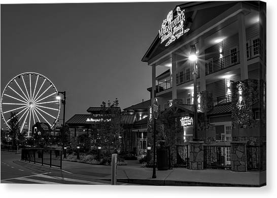 Margaritaville Island Hotel In Black And White Canvas Print