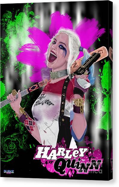 Margot Robbie's Harley Quinn Canvas Print by Joseph Burke