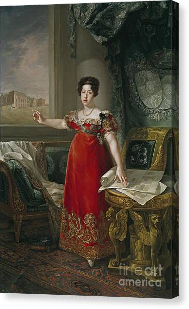 The Prado Canvas Print - Maria Isabel Of Portugal In Front Of The Prado by Celestial Images