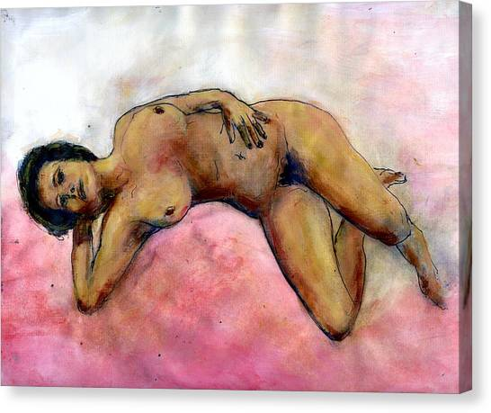 Nude Maria On Pink Sheets Canvas Print by Randy Sprout