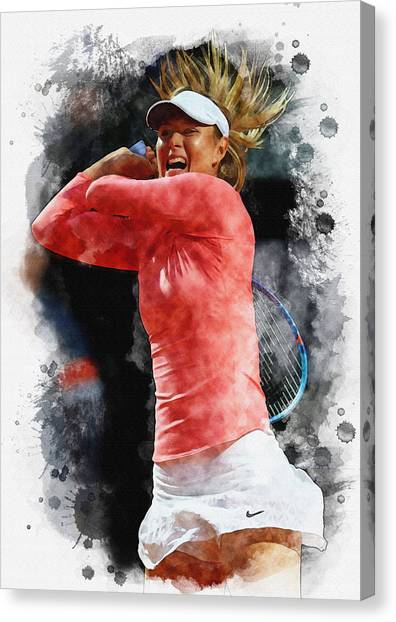 Maria Sharapova Canvas Print - Maria Sharapova Of Russia In Action by Don Kuing
