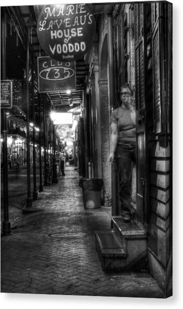 Marie Laveau's House Of Voodoo At Night In Black And White Canvas Print