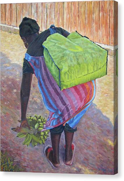Woman At Her Chores Canvas Print