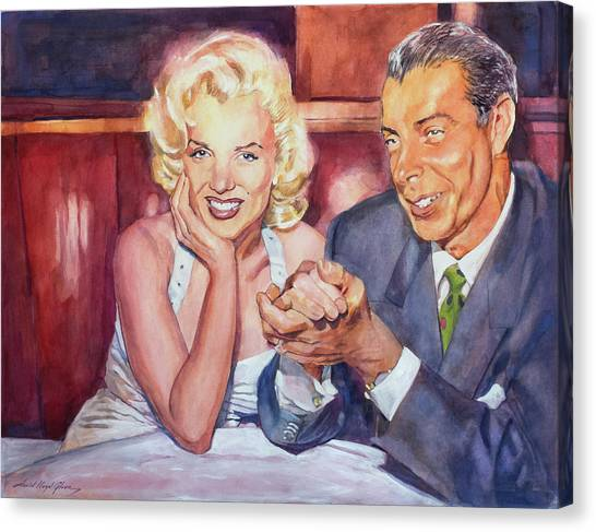 Joe Dimaggio Canvas Print - Marilyn And Joe 1952  by David Lloyd Glover