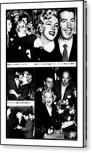 Marilyn Monroe And Joe Dimaggio 1950s Photos By Unknown Japanese Photographer Canvas Print