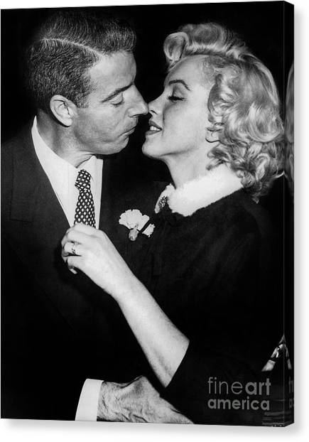Joe Dimaggio Canvas Print - Marilyn Monroe And Joe Dimaggio  by Jon Neidert