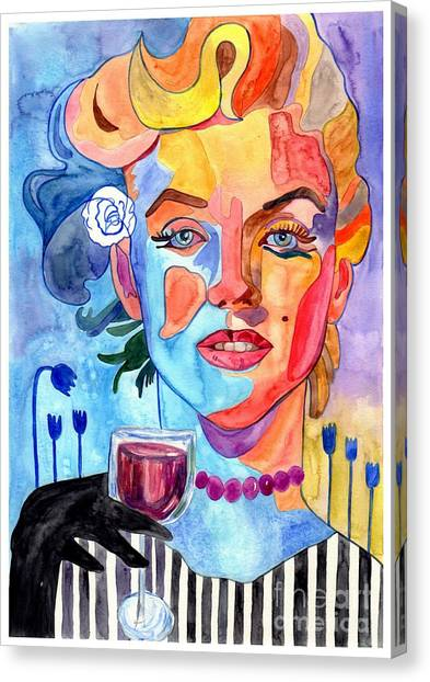 Futurism Canvas Print - Marilyn Monroe Drinking Wine by Suzann's Art