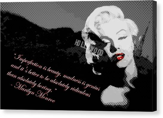 Marilyn Monroe Imperfection Is Beauty Canvas Print