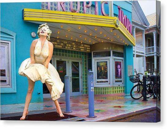 Monroe Canvas Print - Marilyn Monroe In Front Of Tropic Theatre In Key West by David Smith