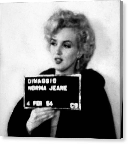 Marilyn Monroe Mugshot In Black And White Canvas Print