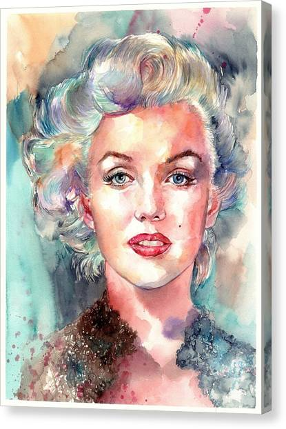 Fauvism Canvas Print - Marilyn Monroe Portrait by Suzann's Art