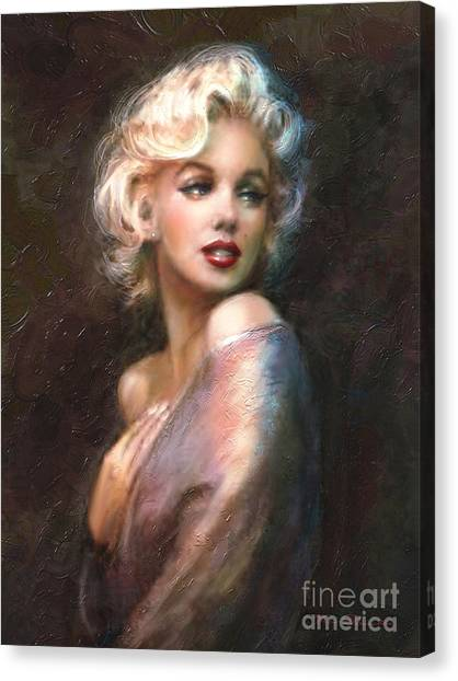 Hollywood Canvas Print - Marilyn Romantic Ww 1 by Theo Danella