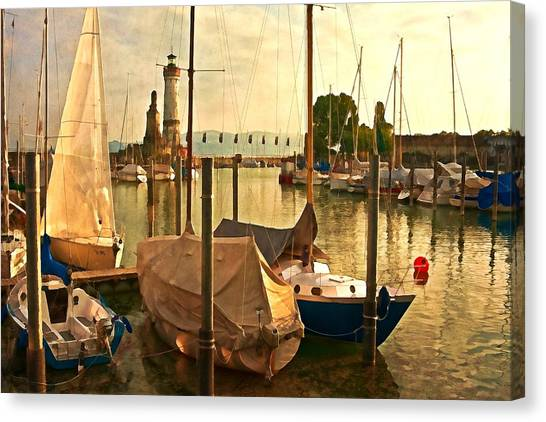 Marina At Golden Light - Digital Paint Canvas Print
