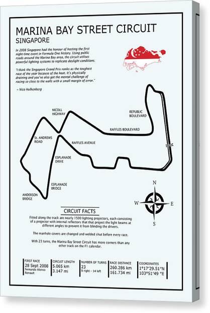 Formula 1 Canvas Print - Marina Bay Circuit by Mark Rogan