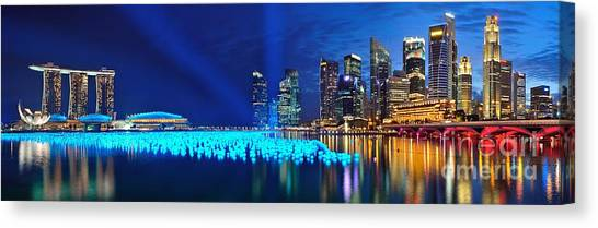 Singapore Skyline Canvas Print - Marina Bay In Singapore by Thomas Jones
