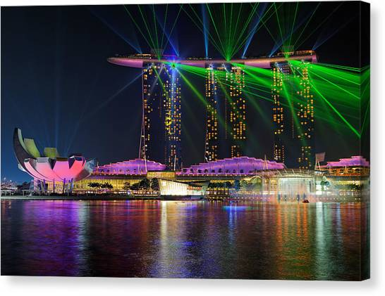 Marinas Canvas Print - Marina Bay Sands Lasershow by Martin Fleckenstein