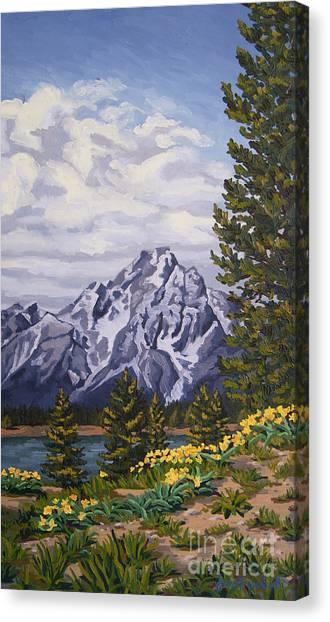 Canvas Print featuring the painting Marina's Edge, Jenny Lake, Grand Tetons by Erin Fickert-Rowland