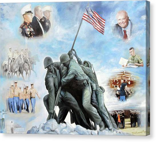 Todd Krasovetz Canvas Print - Marine Corps Art Academy Commemoration Oil Painting By Todd Krasovetz by Todd Krasovetz