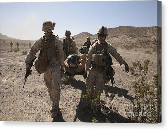 Green Berets Canvas Print - Marines Transport A Simulated Downed by Stocktrek Images
