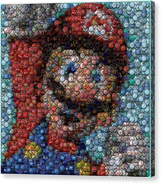 Super Mario Canvas Print - Mario Bottle Cap Mosaic by Paul Van Scott