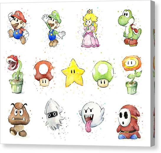 Peaches Canvas Print - Mario Characters In Watercolor by Olga Shvartsur