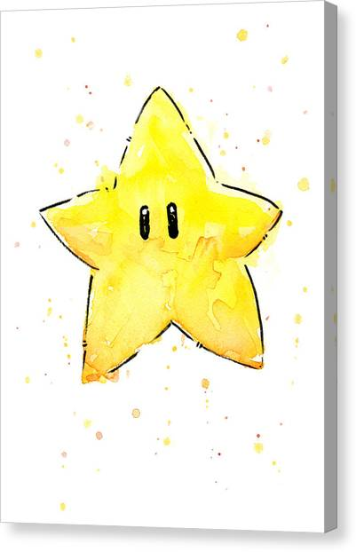 Gaming Consoles Canvas Print - Mario Invincibility Star Watercolor by Olga Shvartsur
