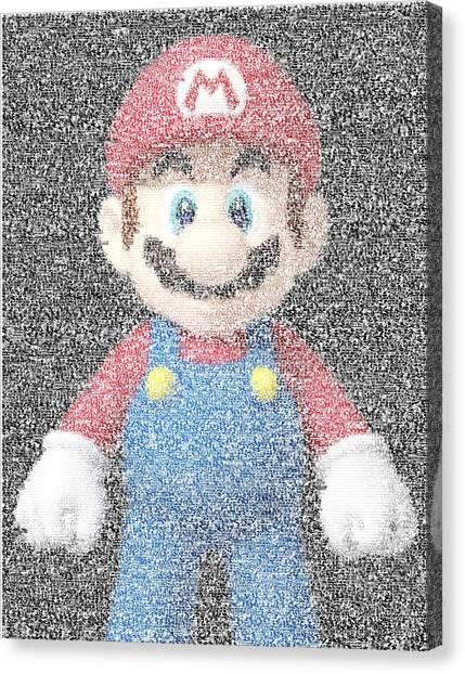 Wii Canvas Print - Mario Mosaic by Paul Van Scott