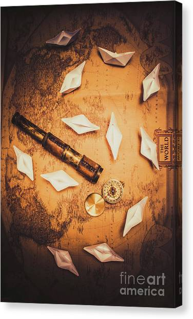 Compass Canvas Print - Maritime Origami Ships On Antique Map by Jorgo Photography - Wall Art Gallery