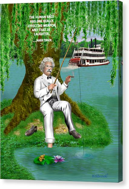 Mark Twain On The Mississippi Canvas Print