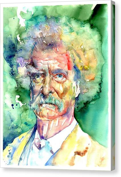 Sandwich Canvas Print - Mark Twain Watercolor by Suzann's Art