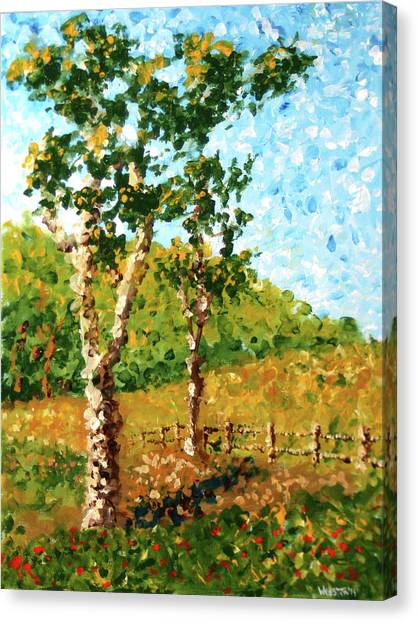 Mark Webster - Abstract Tree Landscape Acrylic Painting Canvas Print by Mark Webster